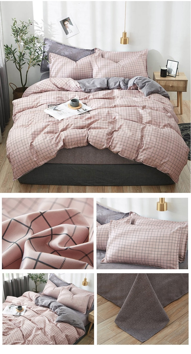 OLOEY geometric Plaid bedding Set Duvet Cover flower sheet bed king queen size bed set  gray cute bedding quilt cover simply
