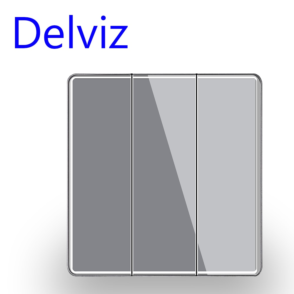 Delviz Crystal glass Switch, 1/2/3/4 Gang 2 Way, Grey panel Cable TV socket, RJ45 Computer Outlet, EU Standard Wall Light Switch