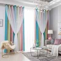 Blackout Star Curtains Stars Blackout Curtains for Kids Girls Bedroom Living Room Colorful Double Layer Star Window Curtains