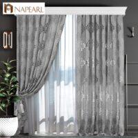 1 PC NAPEARL European style Jacquard Curtain fabrics for Window balcony living room European style curtain Gray