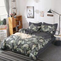 bedding set 5 size green leaf bedding set duvet cover set Korean bed sheet +duvet cover +pillowcase pink bed cover bed linen set