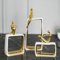 European Abstract Figure Statue Orn Creative Fashion Character Art Sculpture Decoration Ceramics Figurine Home Decor R4549