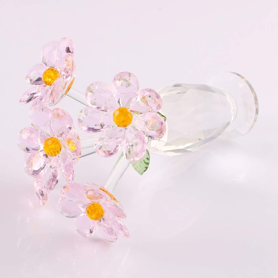 Crystal Glass Flower Dream Bouquet Spring Figurine Ornament Christmas Mother`s Day Gift