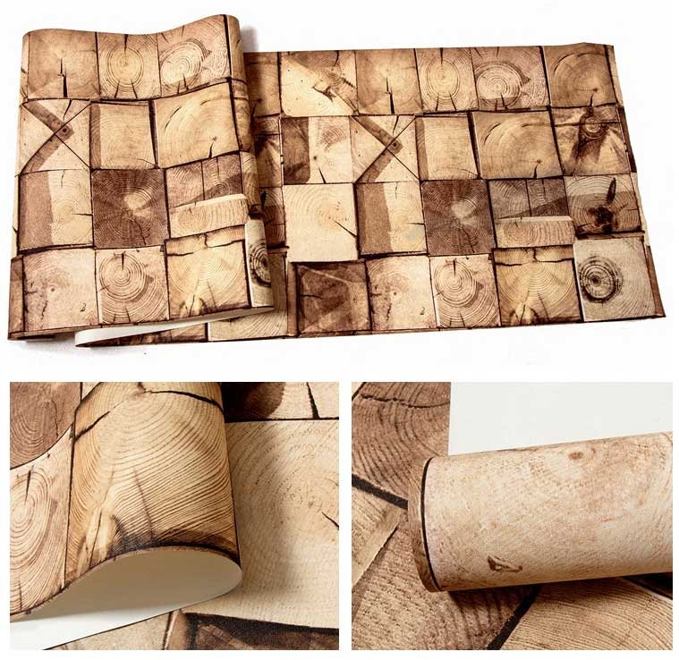 American Classic Vintage Wood Wall Paper 3D Waterproof PVC Contact Paper 3D Wall Panels  Bar Theme Hotel Chamber Wallpaper Roll