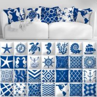 Decorative Throw Pillows Blue Geometry Pillow Cover 45x45 Polyester Cushion Cover Marine Life Pillowcase Cushions Home Decor