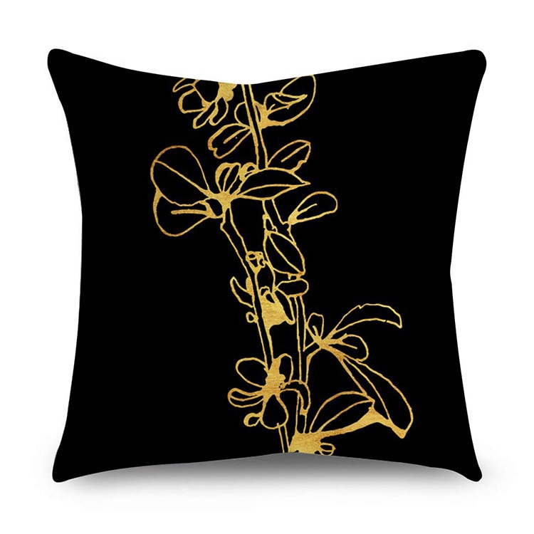 SUNBEAUTY Decorative Throw Pillow Covers Black And Gold Cushion Covers Classic 45x45cm Pillow Case Home Decor Sofa Living Room