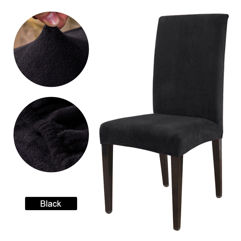 1/2/4/6pcs Solid Color Chair Cover Soft Fox Pile Fabric Chair Covers For Kitchen Dining Room Wedding Banquet Hotel