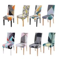 1pc Geometric Print Chair Cover Printed Dining Chair Covers Spandex Stretch Slipcovers Protector Anti-Dust Home Furniture Decor