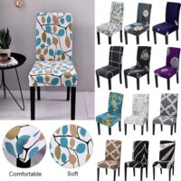 junejour Floral Printing Chair Covers Spandex Stretch Elastic Chair Cover For Wedding Dining Room Office Banquet House Deco