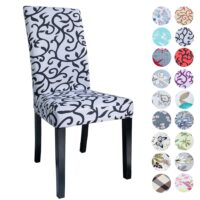 Airldianer Flower Printing Removable Chair Cover Big Elastic Slipcover Modern Kitchen Seat Case Stretch Chair Cover For Banquet