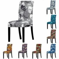 Skull Print Chair Cover Spandex Elastic Halloween Stretch Chair Cover Seat  For Dining Room Hotel Banquet Chair Protective Cover