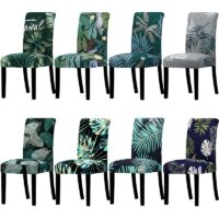 Printed Chair Cover Big Elastic Stretch Seat Chair Covers Slipcovers Bench Cover Office Chair Covers For Home Party Dining Room