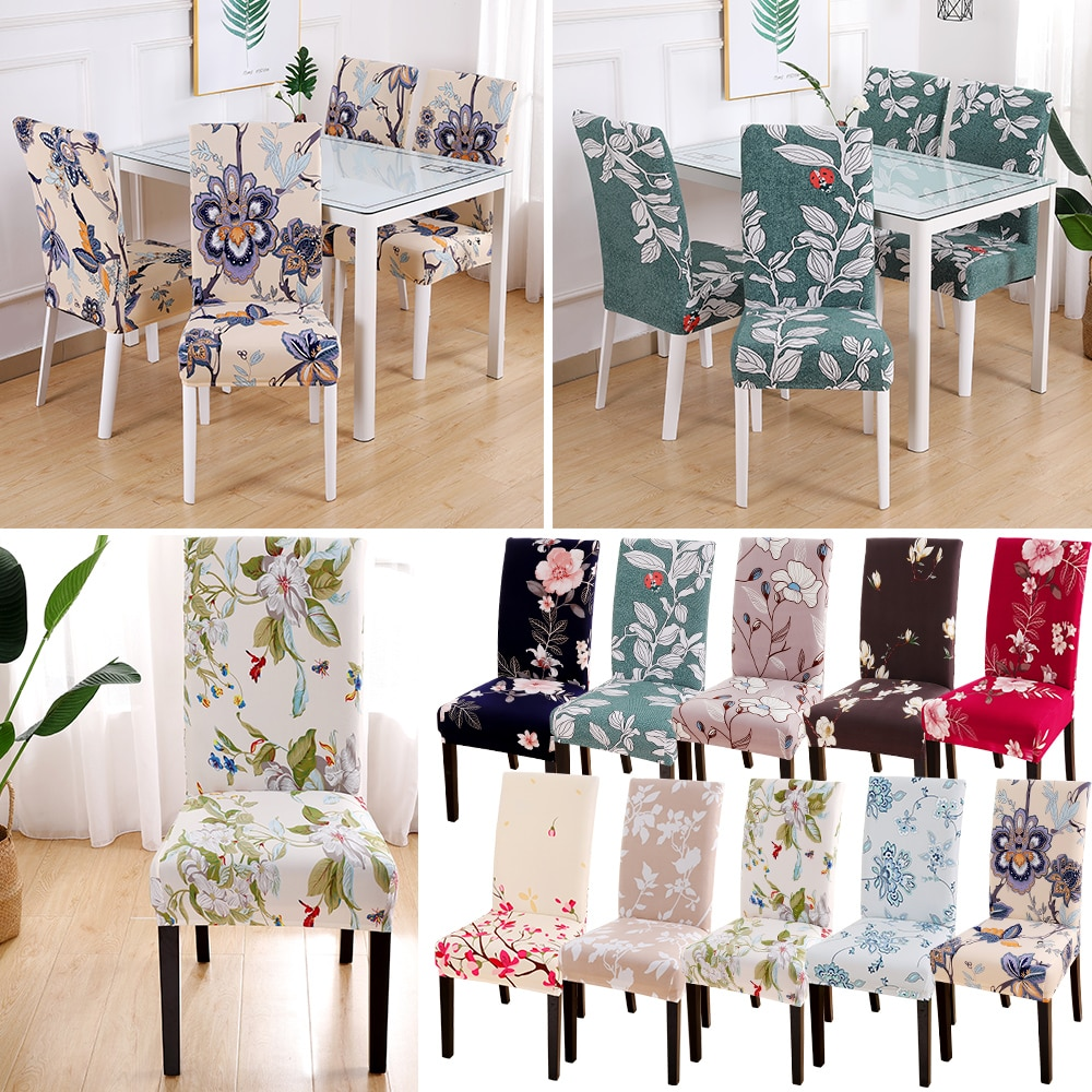 1/2/4/6pcs Modern Removable Chair Cover Anti-dirty Seat Cover Printing Kitchen Slipcover For Wedding Restaurant Housse De Chaise
