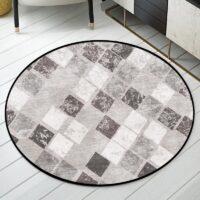 Retro Geometric Rhombus Pattern Round Carpet Floor Mat Soft Carpets For Living Room Anti-slip Rug Bedroom Decor Carpet