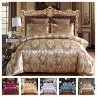 Luxury 2 or 3pcs Bedding Set Satin Jacquard Duvet Cover Sets with Zipper Closure 1 Quilt Cover + 1/2 Pillowcases US/EU/AU Size