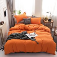 Winter New Solid orange color bedding set bed linen flat bed sheet duvet cover pillowcase queen full single 3 / 4pcs