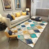 Vintage Geometric Pattern Printed Carpet Ethnic Style Soft Carpets For Living Room Anti-slip Rug Floor Mat Home Decor