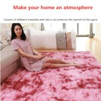 Gradient Dyeing Bedroom Room Bathroom Rug Soft Carpet And For Home Living Room Center Entrance Hall Shaggy Pink Long Wool Carpet