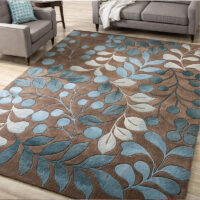 Nordic style INS popular green leaves no hair 3D printed carpet,  big size decoration bedroom area rug