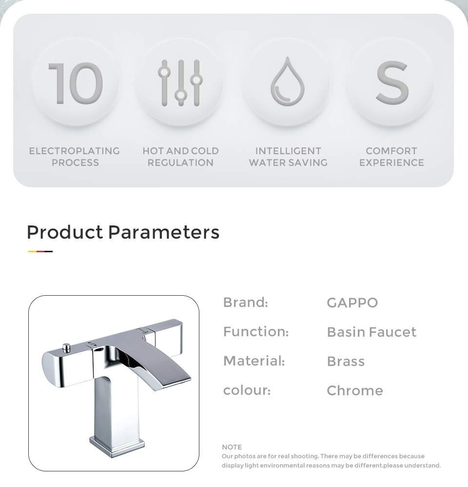 GAPPO thermostatic mixer tap water basin faucets  deck mounted bathroom mixer waterfall washbasin faucet G1007-40