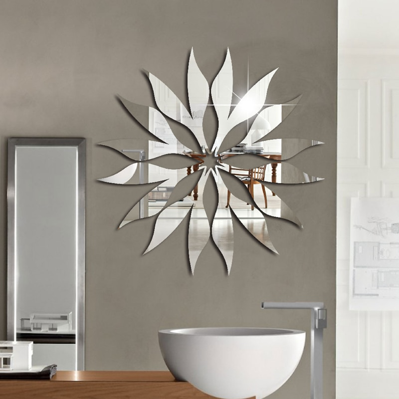 3D Creative Geometric Abstract Acrylic Mirror Wall Sticker Sun Design Wall Art Stickers For Bedroom Living Room Home Decoration