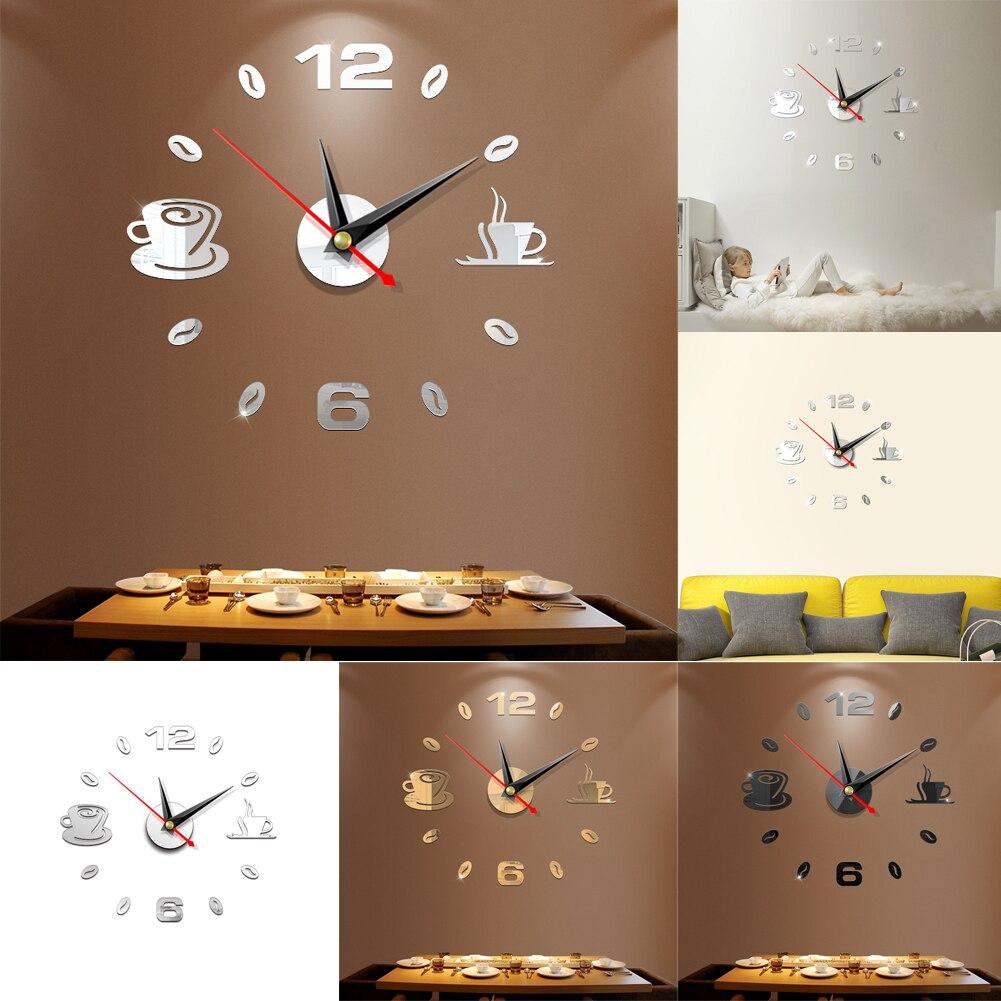 3D DIY Acrylic Mirror Wall Clock Modern Art 3D Sticker Home Office Decor