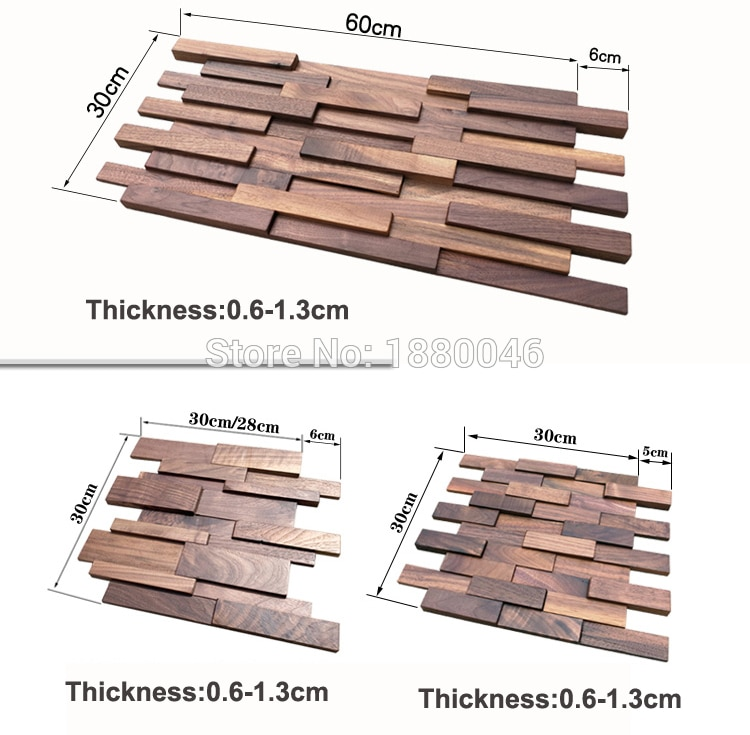 6pcs/pack American Retro Style Art Wood Home Decoration Natural Walnut Wood Wall Art for Background Decor