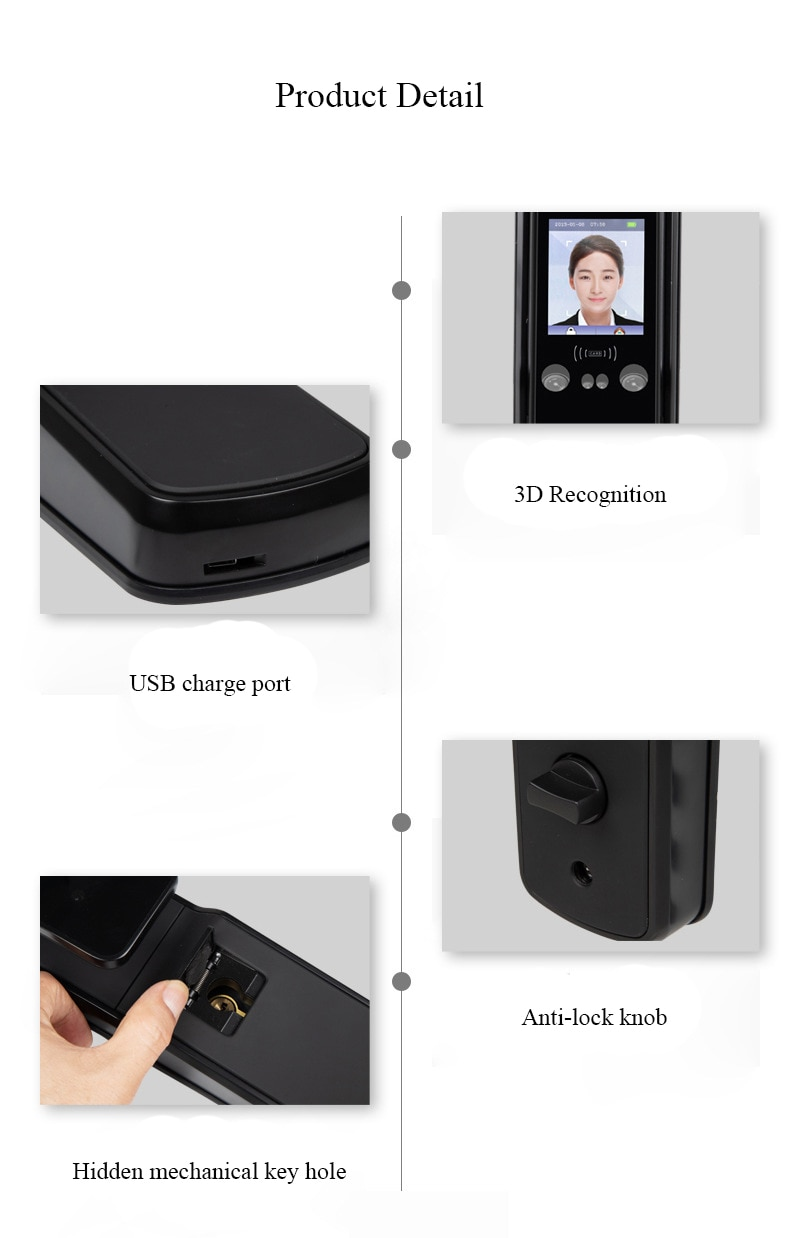 Smart Automatic Face Facial Recognition Lock Support Password Fingerprint Palm Print Card Key For Wooden Metal Door